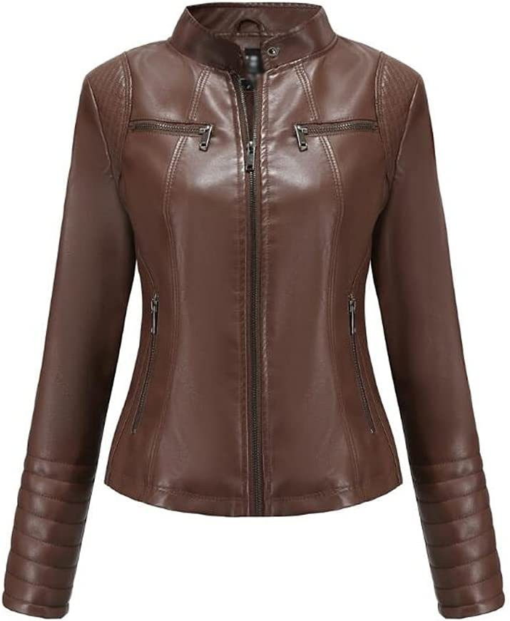 CDQYA Leather Jacket Women's Leather Spring and Autumn Jackets Ladies Motorcycle Large Size Stand Collar Leather Jacket Jacket Female (Color : Camel, Size : S Code)