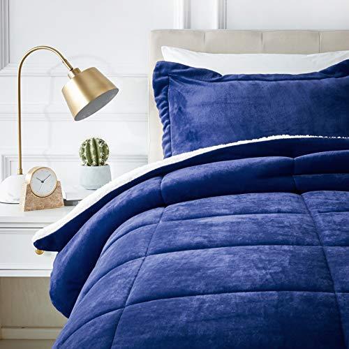 AmazonBasics Ultra-Soft Micromink Sherpa Comforter Bed Set, Twin, Navy Blue - 2-Piece