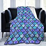 Blue Watercolor Mermaid Scales Fleece Throw Blanket Plush Soft Throw for Bed Sofa, 80'X60'