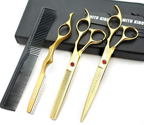 7.0 Zoll Haarschere Set Haarschneideschere & Ausdünnungsschere mit Rasiermesserk?mmen in 1 Satz
