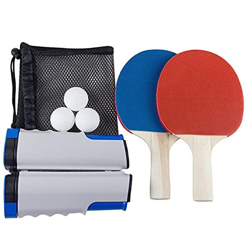 NASTON Juego de Raquetas de Tenis de Mesa portátil, con 2 Raquetas/Marco de Red retráctil / 3 Bolas/Bolsa de Malla de Almacenamiento, Deportes de Ocio,25.2 * 14CM