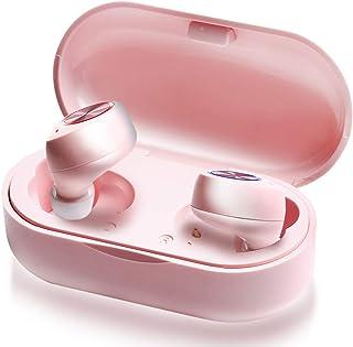 【Amazon限定ブランド】LUCK Bluetooth イヤホン ワイヤレス 完全独立型 カナル マイク内蔵 かわいい 女性向け タッチ操作 TW60 (ピンク)