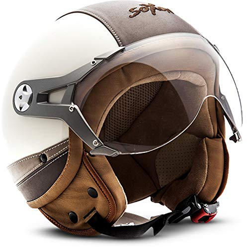 """NTNK N325 Urban """"Creme"""" · Open-Face-Helmet · Motorcycle Half-Face Jet · DOT Approved · Leather · S"""