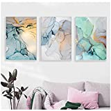 Arte de pared, pintura en lienzo abstracta en color, tono de color pastel, efecto de mármol, imagen impresa, póster mural, decoración de pared sin marco