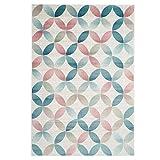 carpet city Teppich Flachflor Inspiration mit Geometrischen Muster, Marokkanischer-Stil mit Pastellfarben, Blau, Rosa, Creme, Beige für Wohnzimmer, Größe: 120x170 cm - 4