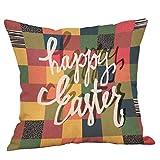 Yivise Happy Pascua Cuadrados Fundas Semana Santa de Almohadas Sofá de Lino Funda de Cojín Decoración Para el Hogar Conejito Funda de Almohada Pillow Cover (L)