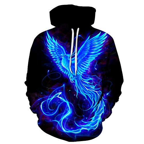 Hoodie Blue Fire Phoenix 3D Fashion Digital Printing Loose Breathable Men's Long Sleeve Sweatshirt Top Spring and Autumn Casual Round Neck Drawstring Hooded Pullover Sweater Coat