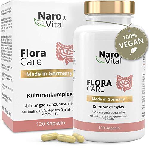 Kulturen-Komplex - 16 Bakterienstämme - Lactobacillus, Bifidobacterium + Inulin - 120 vegane Kapseln (2 Monate) - 18 Mrd kbE - NaroVital Flora Care