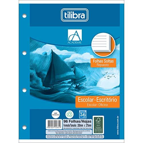 Refil Tiliflex para Caderno Argolado Universitário Folhas Soltas, Tilibra, Académie, 157813, 20x27.5cm, Branca/Turquoise, 96 Folhas