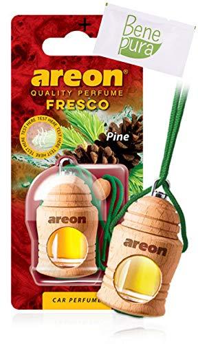 AREON Désodorisant pour Voiture Parfum Fresco 4 ml - Senteur de Pin - Diffuseur de Bouteille Suspendue avec Couverture en Bois Naturelle, Longue durée
