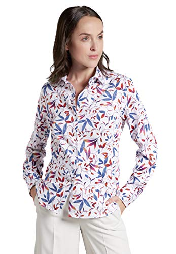 eterna Comfort Fit Bluse Langarm Hemdkragen Muster blau Größe 50