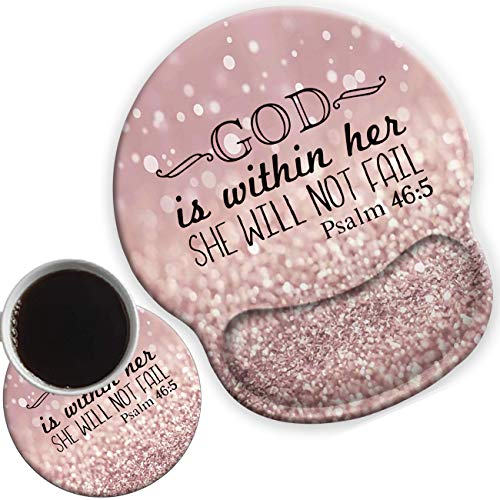 Ergonomic Mouse Pad Wrist Rests Support, Non Slip Mousepads with Gel Cushion Wrist Support,for Home Office Cute Coasters Psalm 46-5 God is Within Her,She Will not Fall- Bible Purple Sparkles Glitter