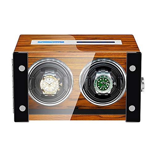 ZNND Caja Enrolladora Reloj para Reloj Automático Pantalla Táctil LCD Exterior Pintura Piano Madera Motor Silencioso Luz LED Incorporada (Size : 2+0)