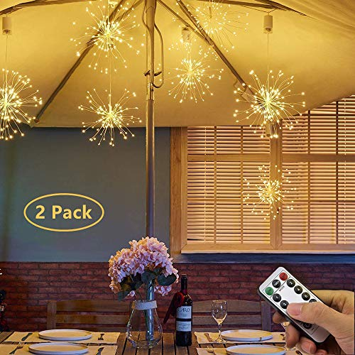 Ooklee Firework Garden Lights Battery Operated, 120 LED 8 Modes Waterproof Hanging Chandelier Light, Remote Starburst Wire Fairy String Parasol Umbrella Lighting Outdoor Gazebo Christmas Decorations