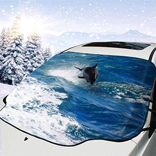 JONINOT Visera de sombrilla automática para Parabrisas Delantero Impermeable Delfín Nariz de Botella común Saltando en la bahía de Paihia Protector protección contra heladas Invierno vehículos