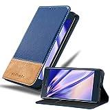 Cadorabo Hülle für Sony Xperia XZ/XZs in DUNKEL BLAU BRAUN – Handyhülle mit Magnetverschluss, Standfunktion & Kartenfach – Hülle Cover Schutzhülle Etui Tasche Book Klapp Style