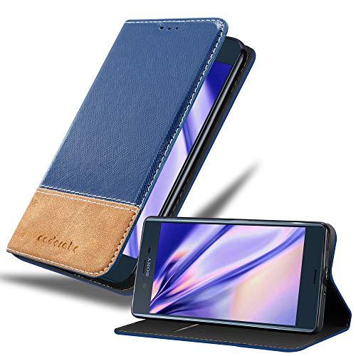 Cadorabo Hülle für Sony Xperia XZ/XZs - Hülle in DUNKEL BLAU BRAUN – Handyhülle mit Standfunktion & Kartenfach aus Einer Kunstlederkombi - Hülle Cover Schutzhülle Etui Tasche Book
