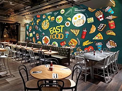 Fotomural Mural de papel tapiz 3d de fondo de restaurante de hamburguesa de pizza pintado a mano grande Paneles decorativos 3d -200cmx140cm