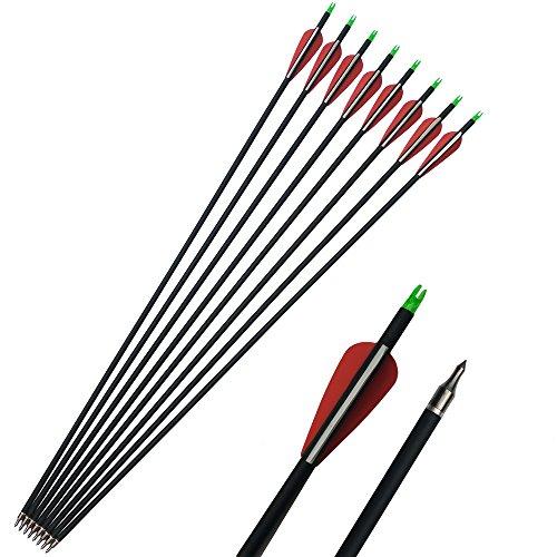 SHARROW 12 Stück Carbonpfeile Bogenpfeil 31 Zoll Spine 500 für Recurvebogen Compoundbögen