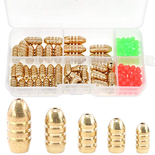 Hilitchi 150-Pcs 5 Sizes Brass Bullet Weights Fishing Sinkers Kit with Brass Sinker Weights Worm Weights with Two Kinds Plastic Luminous Beads for Freshwater Saltwater Bass Fishing