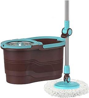 XYZMDJ Spin Seau avec essoreuse, 360 Spin Panier Dry avec 2 Remplacements Microfibre Heads Mop et en Acier Inoxydable poig...