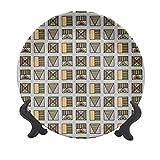 Plato decorativo de cerámica para colgar tribal de 15,24 cm, diseño geométrico folklórico egipcio antiguo con triángulos y rayas, estilo bohemio, para mesa de comedor, catering