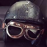 LALEO Fatto a Mano personalità PU Cuoio Retro Harley Open Face Casco da Moto, Traspirante Removibile con Goggle Adatto per Donna e Uomo Adulto, Casco Jet, Omologato ECE S-XXXL (55-65cm),A,XL