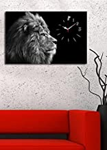 Animals Canvas Real Running Clock, King of the Jungle, White Black Lion - Wooden Thick Frame, Ready to Hang, Size (21