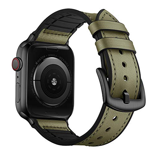 OUHENG Compatible with Apple Watch Band 44mm 42mm, Sweatproof Genuine Leather and Rubber Hybrid Band Strap Compatible with iWatch Series 6 5 4 3 2 1 SE, Army Green Band with Black Adapter