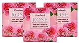 ROSE Pastillas de jabón natural hechas a mano con agua de rosas, aceite de coco, glicerina vegetal, Barras de jabón calmantes, limpiadoras e hidratantes para pieles secas y sensibles, 3x60g