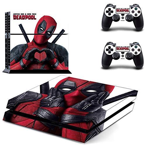FENGLING Film X-Men Deadpool PS4 Aufkleber für Playstation 4 Konsole und 2 Controller Skins PS4 Aufkleber Vinyl