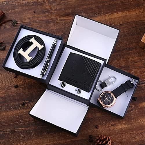Sgxiyue 6 unids/Set Boutique Conjunto de Regalo Cinturón + Wallet + Gemelos + Llavero + Reloj de Cuarzo de Gran tamaño + Pluma Día del Padre Regalo de cumpleaños (Color : Black)