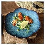 Assiette Creative Mori Girl Céramique Vaisselle de Vaisselle Paon Blue Lotus Assiette Western Food Plaque Steak Plaque Salade Plaque Plaque Plaque Plat assiettes à dessert ( Color : 6 inches )