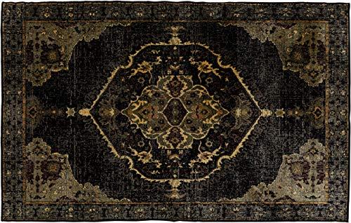 Kare Teppich Ornamento Anthrazit 240x170cm, Unterseite Baumwolle, Oberseite: 100% Viskose, Gold