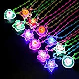 LED Light up Flashing Crystal Necklace Birthday Party Favors for Kids Prizes Box Toys for Classroom Glow in The Dark Party Supplies Great for Parties and Halloween - Pack of 12