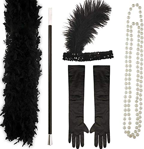 RARA Ladies 1920s Charleston Flapper Fancy Dress - 20's Gatsby Accessories Set Black Feather Boa, Flapper Headband, Long Black Gloves, Pearl Necklace and Cigarette Holder