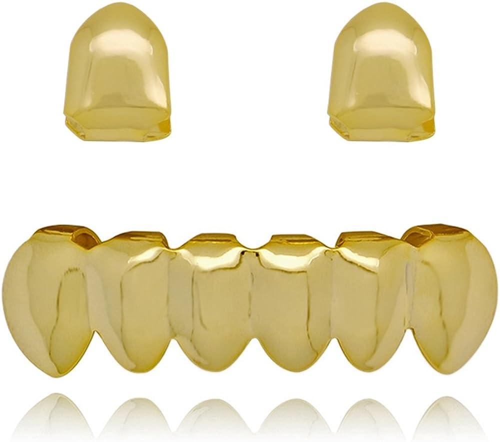 LuReen 14k Gold 2 PC Single Shiny Teeth Grillz 6 Bottom Grillz Set Hip Hop Teeth Grills