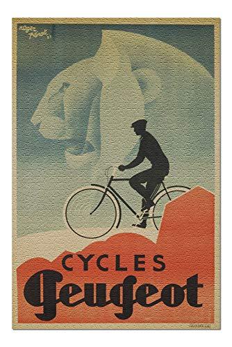 Goodckn Puzzles für Erwachsene Kinder, Fahrräder Peugeot Vintage Poster (Künstler: Perot) Frankreich c. 1931 1000-teiliges Puzzle