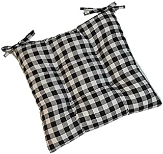 Indoor Cotton Black Plaid/Country Checkered/Checkerboard Universal Tufted Seat Cushion with Ties for Dining Kitchen Chair - Choose Size (17