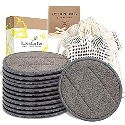 12 Charcoal Bamboo Reusable Makeup Remover Pads (+ a box of Biodegradable Cotton Bamboo Earbuds-100 pcs)-Planet Friendly Reusable Cotton Pads-Organic Bamboo Cotton Face Rounds-Reusable Makeup Pads