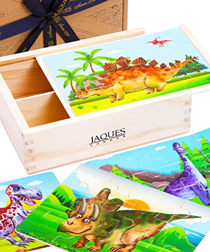 Jaques of London | Rompecabezas de dinosaurio para 3 4 5 años de edad | Juguetes de dinosaurio para niños y niñas | Juguetes de madera para 3 4 5 años | Desde 1795