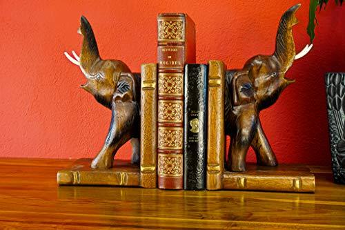 Buchstütze Elefant - Handgeschnitzte Bücherstützen aus massiven Akazien Holz - 30cm Dekoration (Natur)