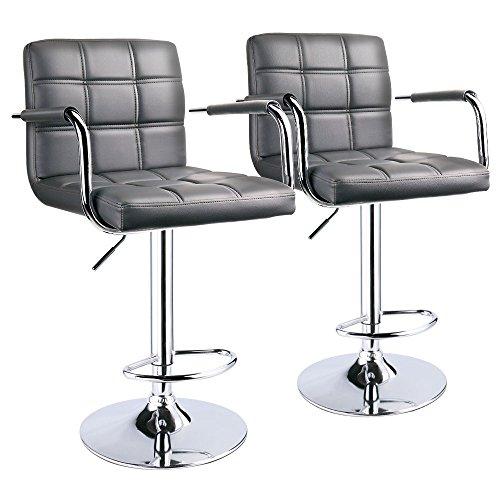 Leopard Square Back Adjustable Bar Stools with armrest,Swivel Bar Stool Set of 2- Gray