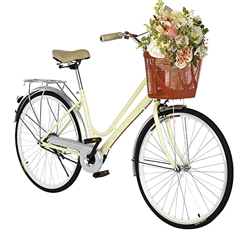 TOUNTLETS Womens Beach Cruiser Bike-26 Inch Unisex Classic Iron Bicycle with Basket Retro Bicycle Unique Art Deco Scooter,Road Bike,Seaside Travel Bicycle,Comfortable Commuter Bicycle (Yellow)