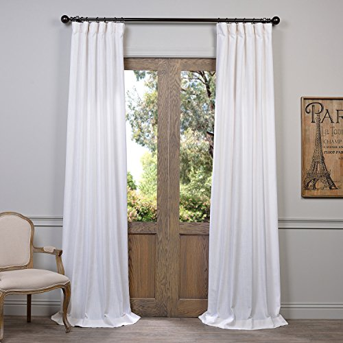 HPD Half Price Drapes FHLCH-VET13191-96 Heavy Faux Linen Curtain (1 Panel), 50 X 96, White