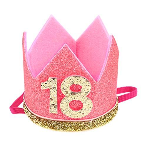 Amosfun Compleanno Corona Cappello 18 Anni Glitter Festa Cappelli Decorazioni Festa per Fidanzata Bellezza Adulti