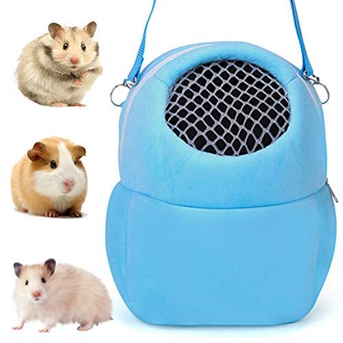 NALCY Hamster Reisetasche, Kleintier Tragetasche, Tragbar Atmungsaktiv Haustiertragetasche, mit Schultergurt, für kleine Haustiere Igel Zucker Gleiter Eichhörnchen Kaninchen, Größe M (Blau)