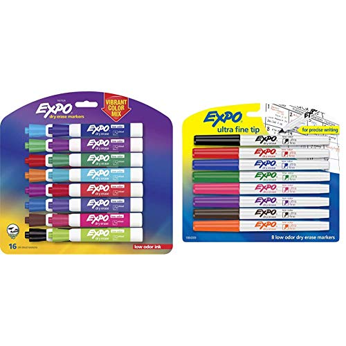 EXPO 1927526 Low-Odor Dry Erase Markers, Chisel Tip, Vibrant Colors, 16-Count & 1884309 Low-Odor Dry Erase Markers, Ultra Fine Tip, Assorted Colors, 8-Count