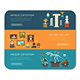 Mouse Pads Ticket Museum Horizontal with Exhibits of Archaeological Finds and Antique Expositions an...