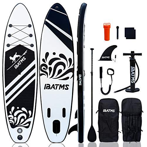IBATMS Tavola gonfiabile Stand Up Paddle 10.5'(320cm) ×31.5'×6' con accessori premium SUP e zaino, tavola antiscivolo, borsa impermeabile, guinzaglio, pinna, pagaia e pompa a mano per giovani e adulti